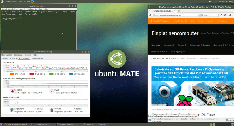 Raspberry Pi 2 Ubuntu MATE 15.04 (Screenshot)