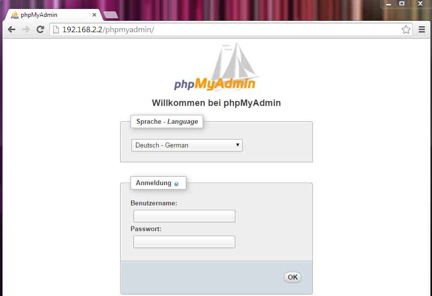 phpmyadmin - Screenshot Raspberry Pi