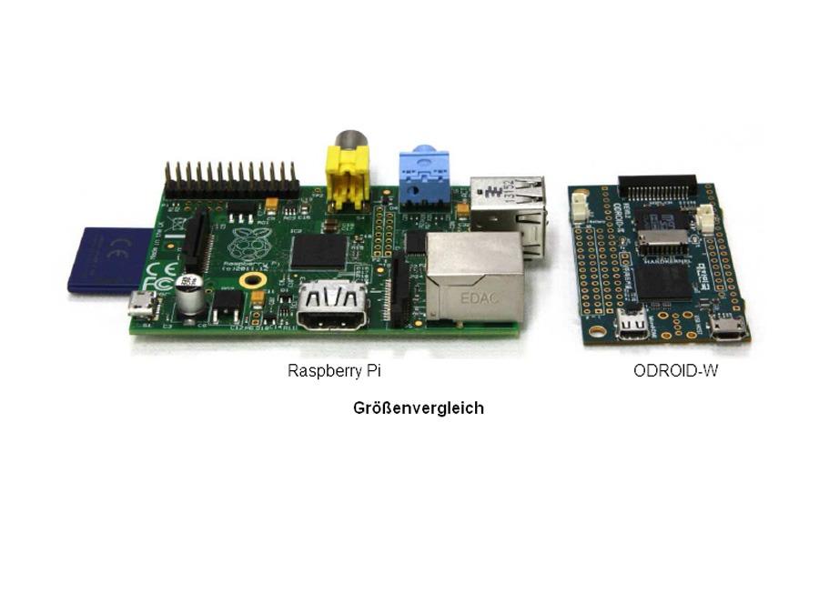 Odroid-W und Raspberry Pi (Foto: Pollin Electronic)
