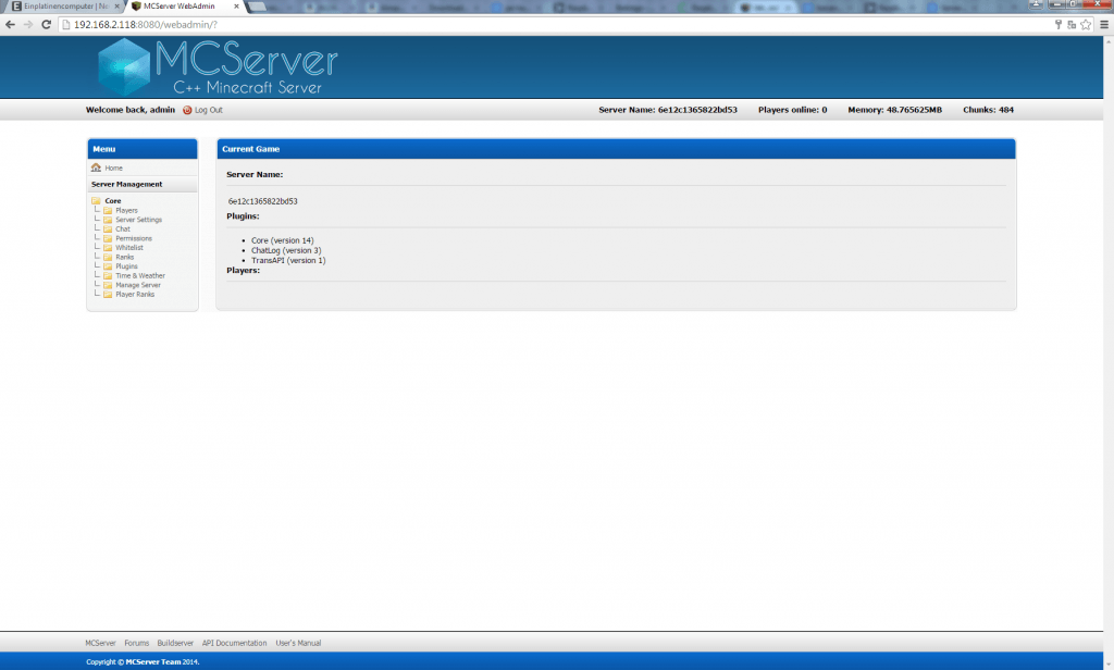 Screenshot MCServer Webinterface