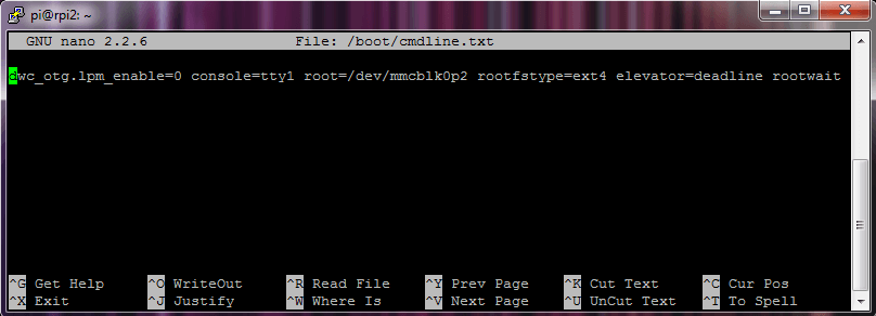 Screenshot PuTTy cmdline.txt