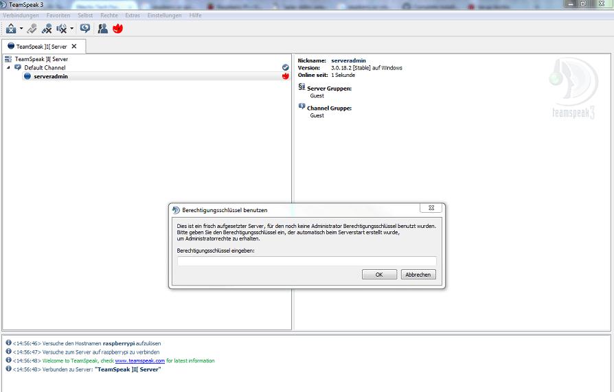 Teamspeak Server Berechtigungsschlüssel eingeben