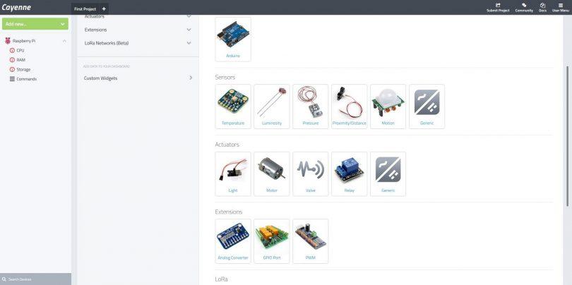 Cayenne: Raspberry Pi IoT Plattform