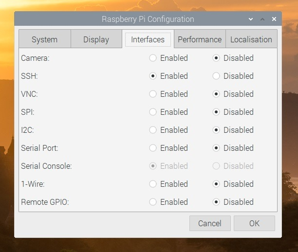 Raspberry Pi Configuration (Interfaces)