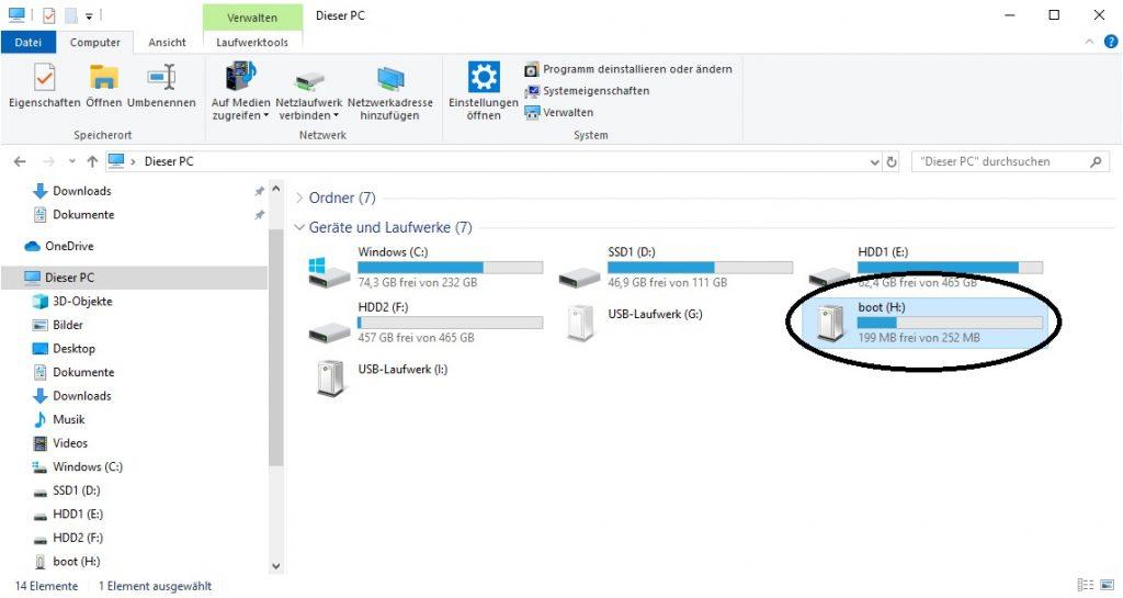 """Windows Raspbian Partitionen (Boot Partition unter """"Dieser PC"""""""