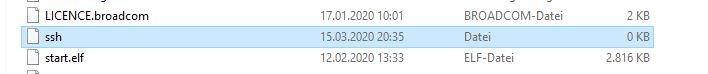 SSH Datei auf Raspbian Boot-Partition