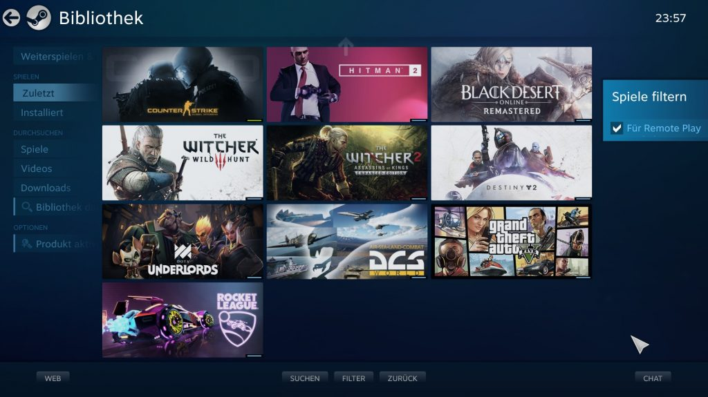 Steam Link: Steam Bibliothek